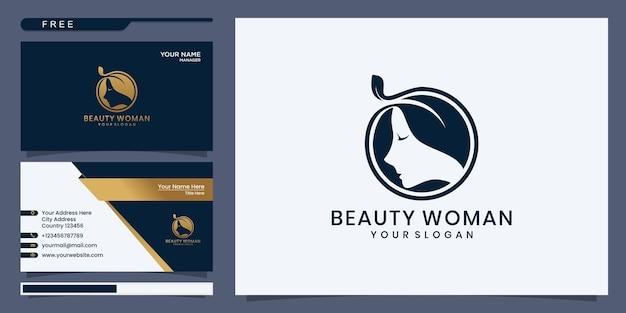 Logo moda uroda kobiety. złoty streszczenie wektor szablon liniowy styl na czarnym tle
