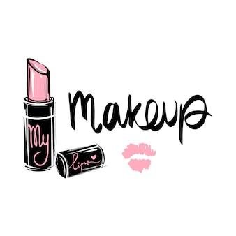 Logo mody makijaż. ilustracja literowa fraza kaligraficzna