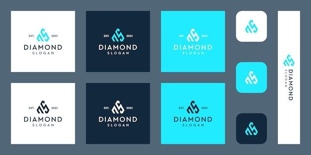 Logo monogram liter n i s z abstrakcyjnymi kształtami diamentów premium wektorów