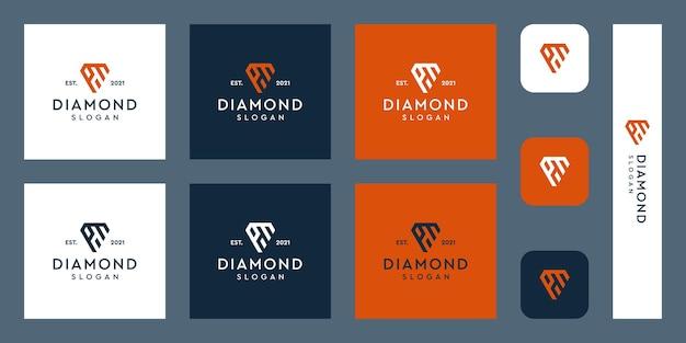 Logo monogram liter p i m z abstrakcyjnymi kształtami diamentów premium wektorów