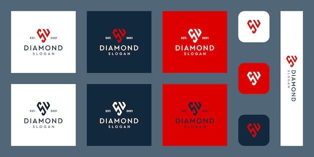 Logo monogram liter s i u z abstrakcyjnymi kształtami diamentów premium wektorów