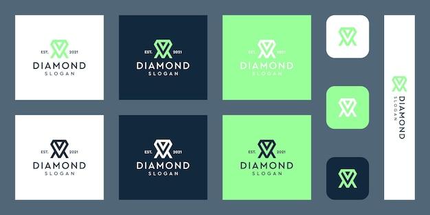 Logo monogram liter v i m z abstrakcyjnymi kształtami diamentów premium wektorów