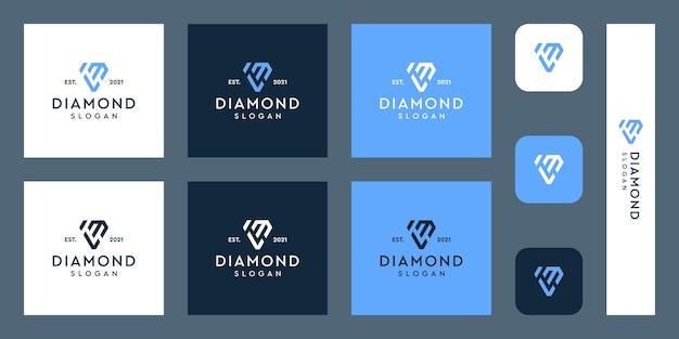 Logo monogram litery l i m z abstrakcyjnymi kształtami diamentów premium wektorów