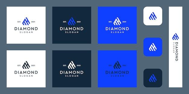 Logo monogram litery m i h z abstrakcyjnymi kształtami diamentów premium wektorów