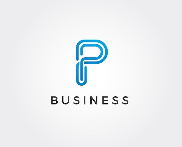Logo monogram litery p, zaproszenie czarno-białe pp makieta lub godło wizytówki, ozdobny znak