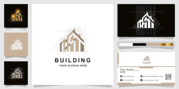 Logo monogramu architektury, budynku lub nieruchomości z projektem wizytówki