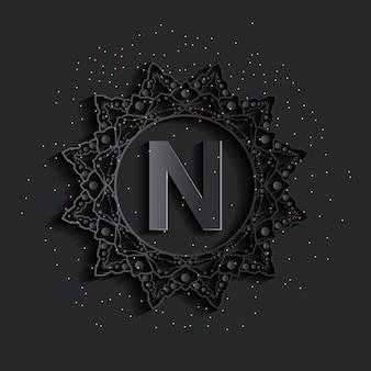 Logo monogramu ciemny adamaszkowy efekt złoty
