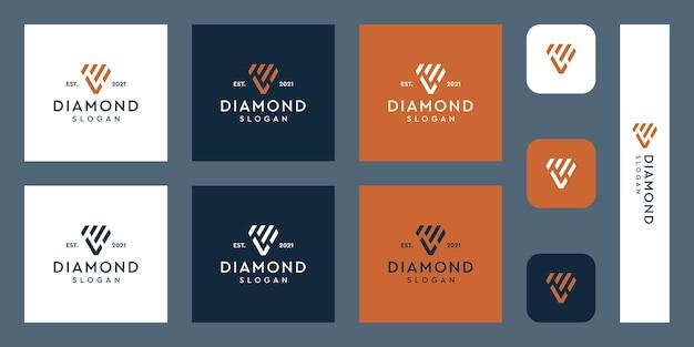Logo monogramu liter l z abstrakcyjnym logo diamentu i inwestycji