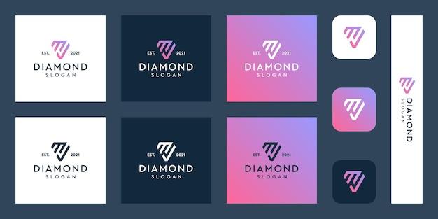 Logo monogramu litery m i znacznik wyboru z abstrakcyjnymi kształtami diamentów