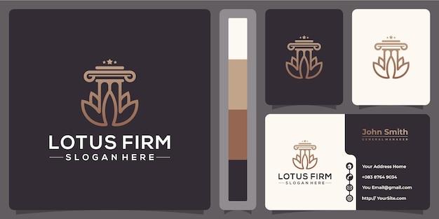 Logo monoline prawa firmy lotus z szablonem wizytówki