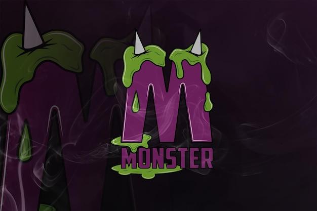 Logo monster monogram esport premium