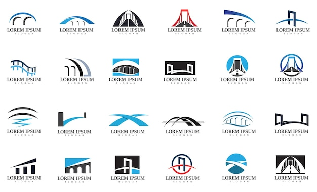 Logo mostu i wektor symbolu