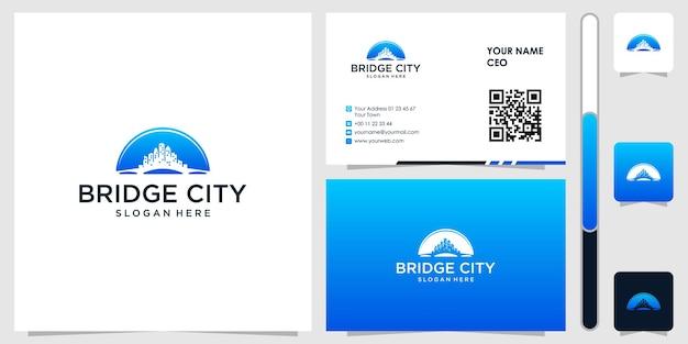 Logo mostu z wektorem projektu wizytówki premium
