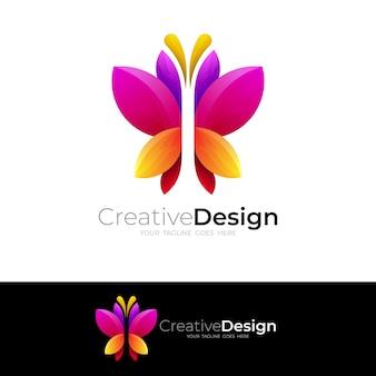 Logo motyla i kolorowy design, ikona zwierząt