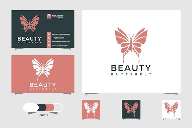 Logo motyla z pojęciem piękna i wizytówki