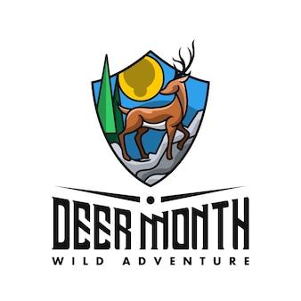 Logo mountain deer shield dla klubu przygód
