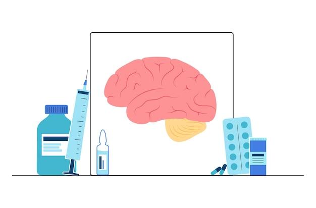 Logo mózgu dla kliniki neurologii. koncepcja działania sensacji, intelektualnej i układu nerwowego.