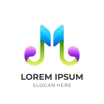 Logo music m, muzyka i litera m, połączenie logo z kolorowym stylem 3d