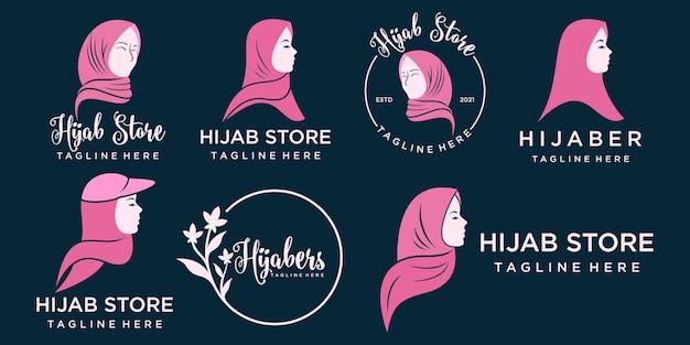 Logo muslimah dla produktu modowego hidżab lub szalik z szablonem projektu logo w kolorze złotym