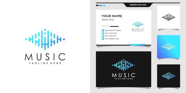 Logo muzyczne z początkowym projektem sprzętu i wizytówki