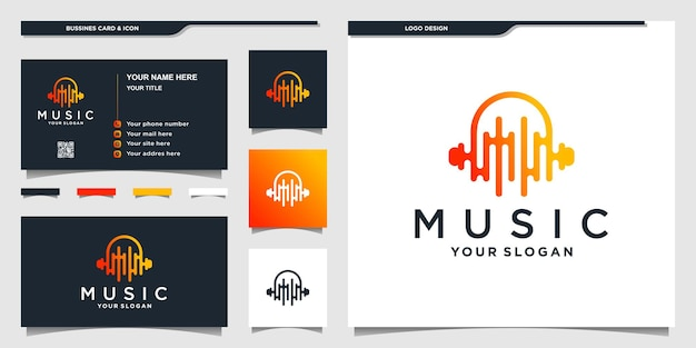Logo muzyczne z unikalnym kształtem słuchawek i projektem wizytówki premium vektor