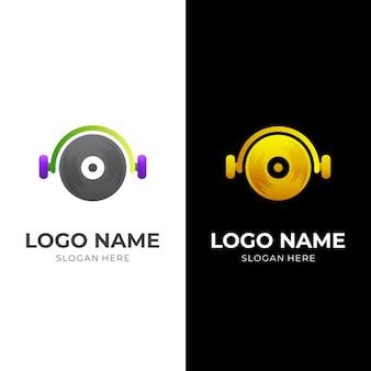 Logo muzyki dj, zestaw słuchawkowy i płyta, połączenie logo w stylu 3d w kolorze srebrnym i złotym