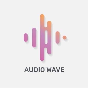 Logo muzyki fali dźwiękowej wektor płaska konstrukcja z edytowalnym tekstem