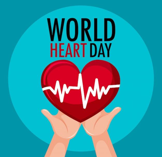 Logo na białym tle światowego dnia serca