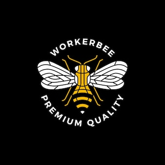 Logo na etykiecie okrągłej pszczoły