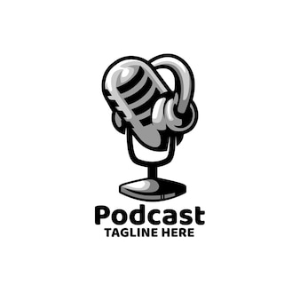 Logo nagrywania wiadomości podcast broadcast mic