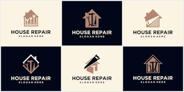 Logo naprawy domu, logo naprawy domu. odznaka narzędzia do majsterkowania. ikona przybornika domu. klucz do znaku i śrubokręt. naprawa i renowacja. symbol usługi serwisowej.