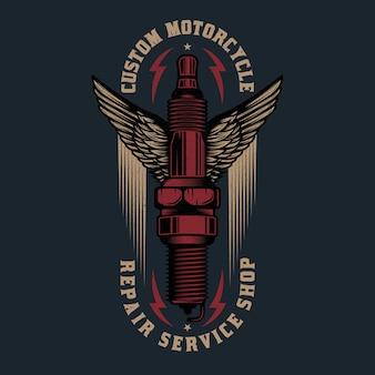 Logo naprawy rocznika motocykla