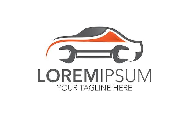 Logo naprawy samochodu z ikoną klucza