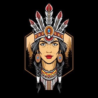 Logo native american woman