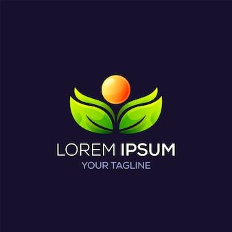 Logo natura liść i słońce dla produktu marki biznesowej, kosmetyków, opieki zdrowotnej, spa