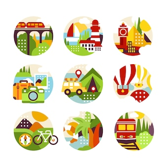Logo naturalnego koła z krajobrazem, widokiem na miasto i różnymi typami pojazdów w stylu. kolorowe elementy dla biura podróży, infografiki lub etykiety. ilustracja