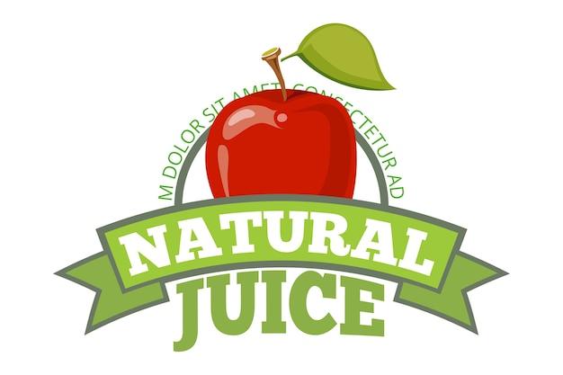 Logo naturalnego soku jabłkowego, etykiety lub znaczek