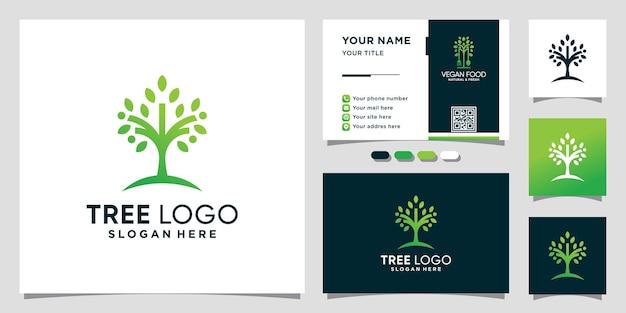 Logo natury drzewa z unikalną koncepcją i projektem wizytówek premium wektor