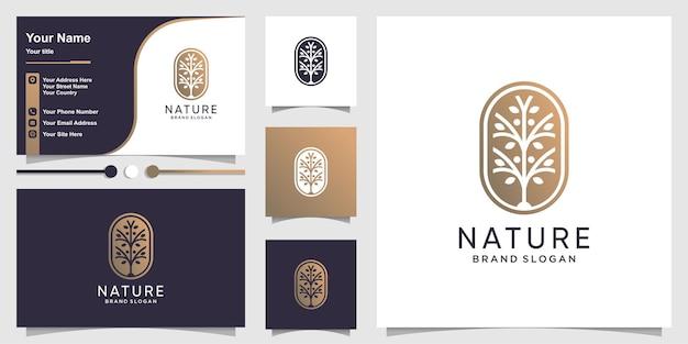 Logo natury z kreatywną koncepcją kwiatową i wizytówką