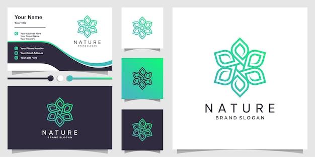 Logo natury ze świeżą zieloną koncepcją i wizytówką