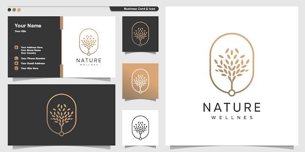 Logo natury ze złotym stylem konturu drzewa premium i szablonem projektu wizytówki