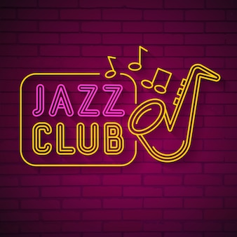 Logo neon music jazz neon on dark