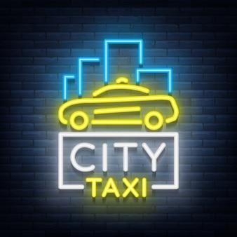 Logo neonowe taksówki miejskie
