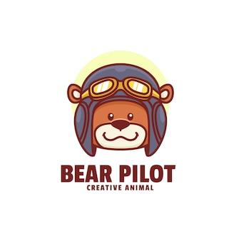 Logo niedźwiedź pilot maskotka stylu cartoon