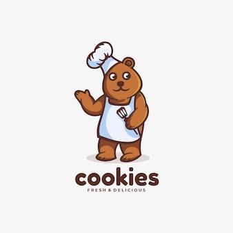 Logo niedźwiedzia gotowania prostego stylu maskotki.