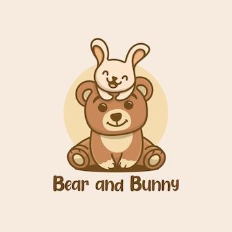 Logo niedźwiedzia i króliczka kawaii
