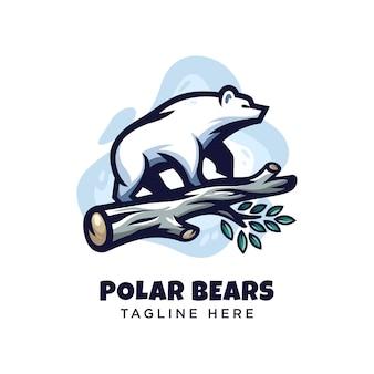 Logo niedźwiedzia polarnego nowoczesny minimalizm