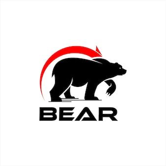 Logo niedźwiedzia rynku handlu sylwetka wektor zwierząt