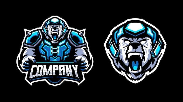 Logo niedźwiedzia wojownika mascto