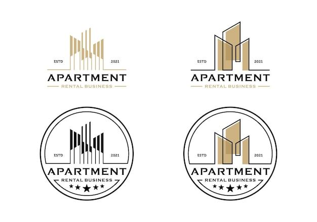 Logo nieruchomości budynku miasta, szablon projektu mieszkania biznesowego